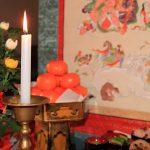 涅槃会図と蝋燭